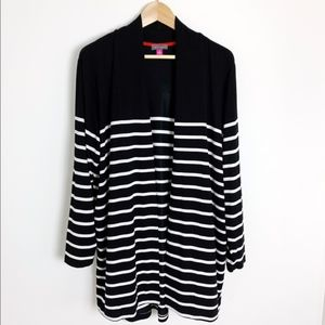 Vince Camuto   Black and White Striped Cardigan IX